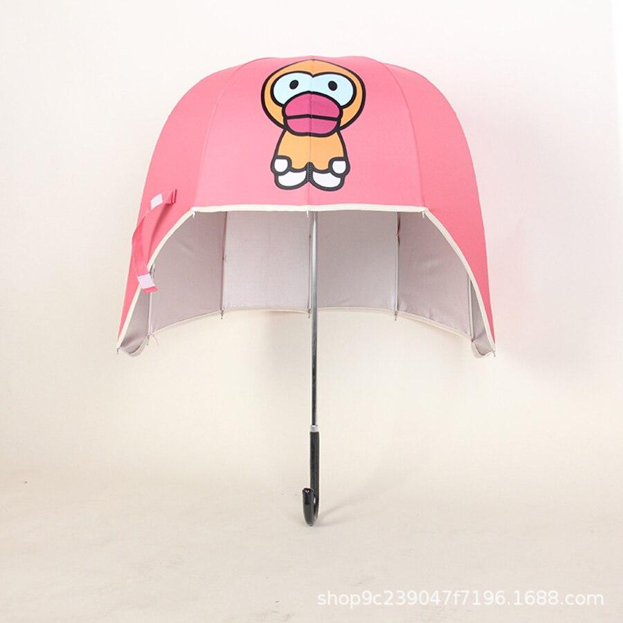 Casque parapluie Long manche Anti UV Anime clair parapluie pluie femmes Parasol jardin Kinder Paraplu parasols Umberlla 50KO068