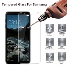9H Tempered Glass on For Samsung Galaxy A50 A30 A7 2018 A9 J4 J6 Plus J8 2018 Screen Protectors For Samsung Galaxy A3 A5 A7 2017(China)