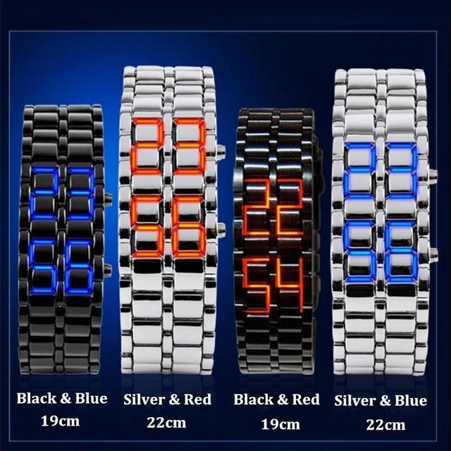 Bracelet Digital Samurai Metal Stainless Steel LED Wrist Blue Red Light Watch