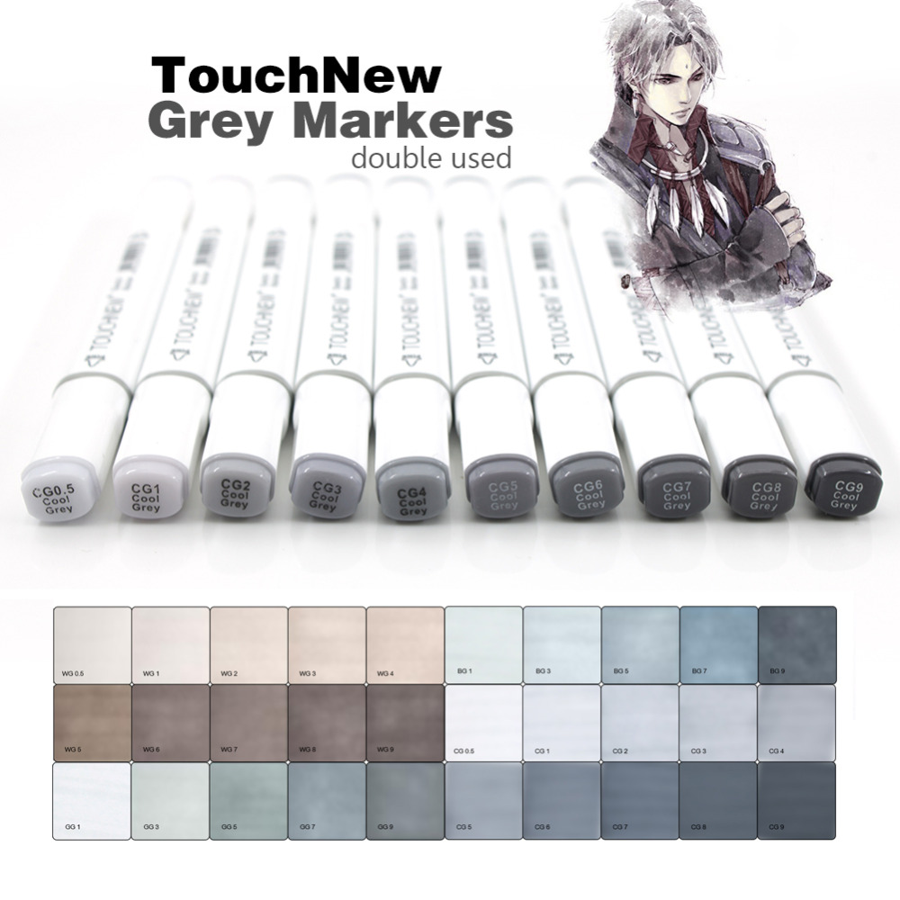Touchnew Marker Pen  6/12/30 Colors Grey Colors Art Markers Double-Tip Sketch Markers Alcohol Based Ink Tones Art Supplies