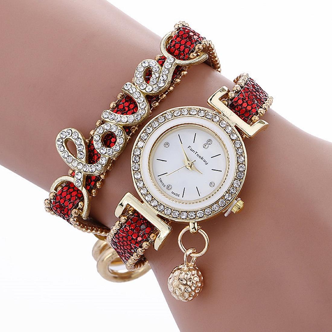 Relógios de Quartzo Pu de Couro Strass Relógios Mulheres Top Luxo ... 3e81e6a6f7