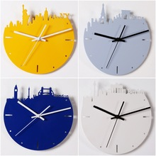 4 Colors Famous City New York Paris London Berlin Wall Quartz Metal Clock Home Decoration Watch Bell Living Room Home Decoration