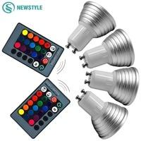 4 pz/lotto Dimmable 3 W E27 GU10 RGB LED Lampadina del Riflettore AC85-265V HA CONDOTTO LA lampada Con 24 keys Telecomando Decor luce di notte