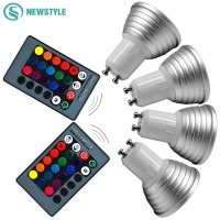 4pcs Lot Dimmable 3W E27 GU10 RGB LED Bulb Spotlight AC85 265V LED Lamp With 24keys