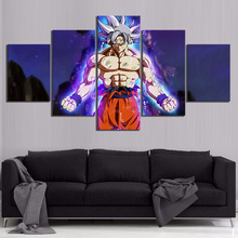 5 Piece Dragon Ball Super Cartoon Movie Poster Paintings Goku Mastered Ultra Instinct Pictures for Children Room Wall Decor