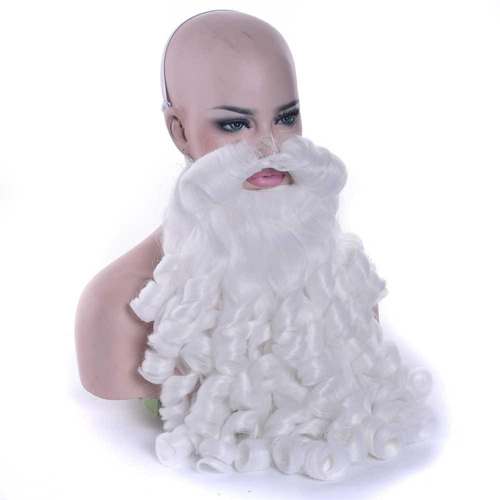 IMISSU noel hediyesi Noel Baba Peruk ve Sakal Sentetik Saç Kısa Cosplay Peruk Erkekler için Beyaz Postiş Aksesuarları Şapka