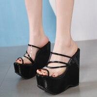 16cm Ultra Heels Women Slippers Gladiator Sandals Fashion Platform Wedges Shoes For Women PVC Transparent Shoes Summer Slippers
