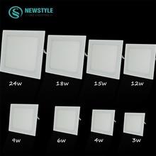 AC110V 220V ultra thin Square Panel 4W 6W 9W 12W 15W 18W SMD2835 recessed ceiling  led panel light downlight White / Warm white