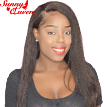 Italian Yaki Straight Lace Front Human Hair Wigs For Black Women Pre Plucked With Baby Hair Sunny Queen Remy Hair Natural Color