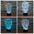 4 estilos 3D Cráneo LLEVÓ la Visualización de la Ilusión Óptica de Arte Escultura Luces de noche Lámpara de Escritorio con Control Táctil para el Hogar Arte decoración