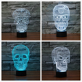 4 styles 3D Optical Illusion Visualization Skull LED Art Sculpture Night Lights Desk Lamp with Touch Control for Home Art Decor