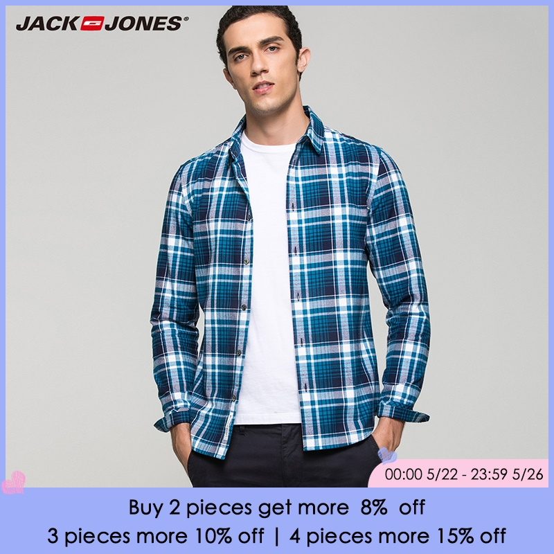 Jack Jones 100% algodón de moda casual slim fit versión multicolor plaid de manga larga hombres camisas | 216405518 |