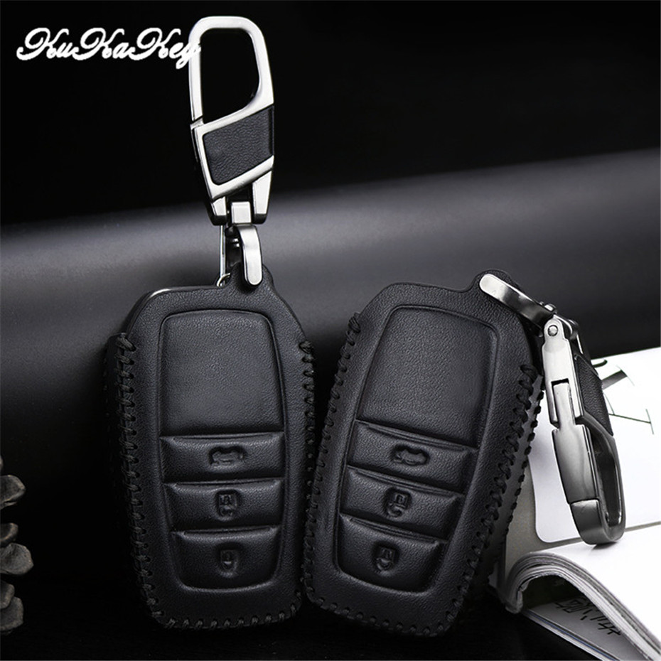 купить 2018 Leather Car Smart Key Cover Case For Toyota Camry Coralla Crown RAV4 Highlander 2015 2&3 Button Remote Key Protective Shell по цене 618.12 рублей