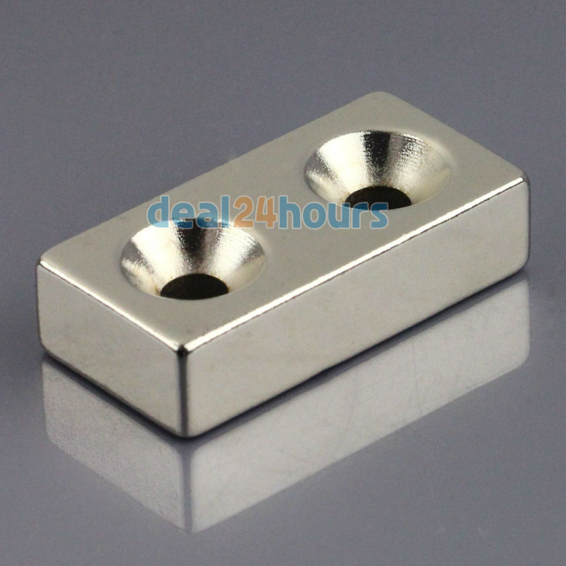 OMO Magnetics 1pc N50 Super Strong Block Cuboid Neodymium Magnets 40 x 20 x10mm 2 Countersunk Hole 5mm Rare Earth omo magnetics 10pcs big bulk super strong cuboid block magnets rare earth neodymium 50 x 50 x 5 mm n35 wholesale