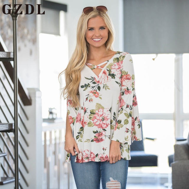 4001073d26b GZDL Milk Silk Women Fashion Floral Tops Spring Autumn Long Sleeve V Neck  Floral Print Party