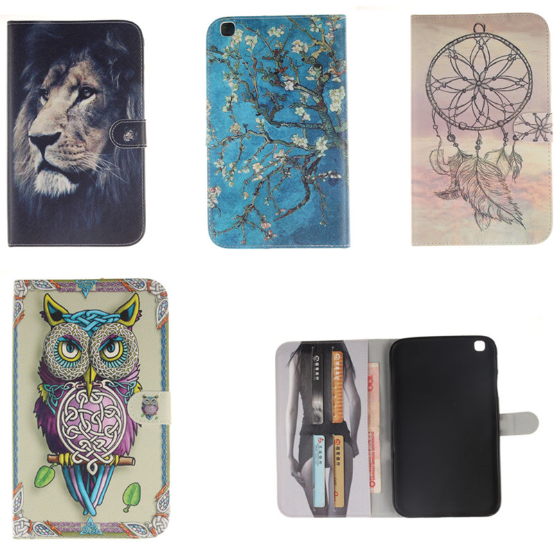 TX Stand Flip Pu Leather Sexy Style Case For Samsung galaxy tab 3 8.0 T310 T311 T315 Tablet PC TPU Back Cover With Card Slots
