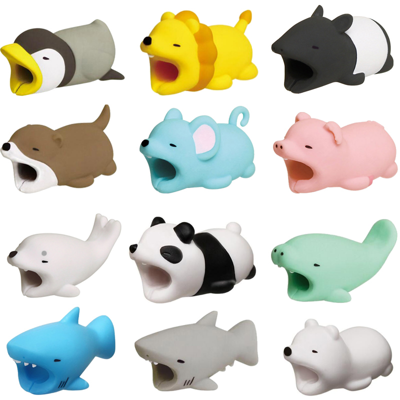 Cable Bite Protector For IPhone Cable Winder Phone Holder Accessory Cable Biters Dog Rabbit Cat Animal Doll Squishy Toys