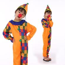 New Children Kids Girl Boys Clown Cosplay Costume Jumpsuits & Rompers+Hat+Nose Halloween Performance Family Party