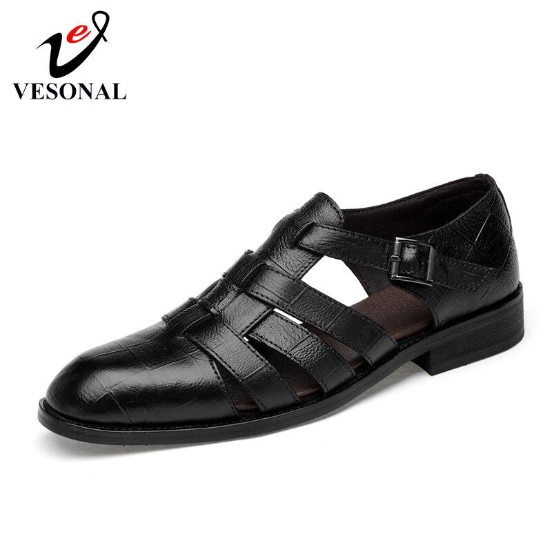 Ayakk.'ten Erkek Sandaletleri'de VESONAL Marka Yaz Hakiki Deri erkek Sandalet plaj ayakkabısı Nefes Eğlence Moda Rahat Erkek Ayakkabı Sandalias'da  Grup 1