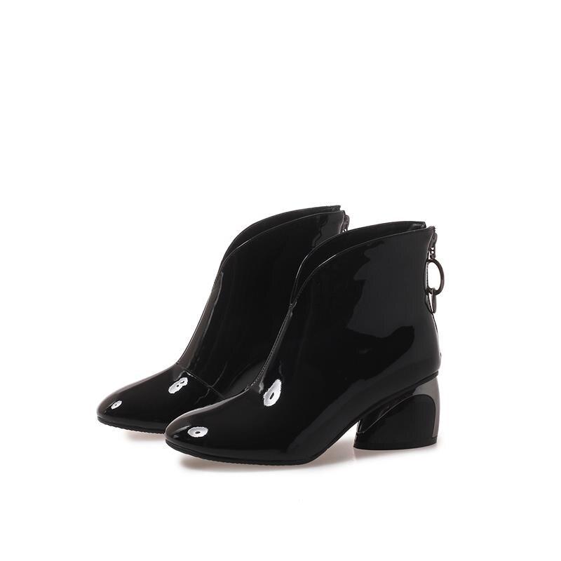 En Femmes black Fur Fur Bureau Unique Épais Black Not Fur Verni Cuir Red wine Masgulahe Cheville With Chaussures Talons Élégant Solide Véritable Automne Bottes Dame Hiver qB4nZpRwX