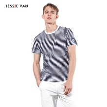 Men Cotton Stripe T-shirt Summer Fashion Men's Tees Short O-Neck Tops Clothes S7