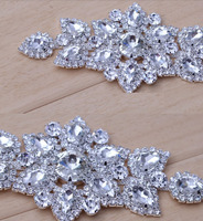 High Quality Sewing On Rhinestone Applique 1 Pcs Silver Base Crystal Clear Color DIY Wedding Evening
