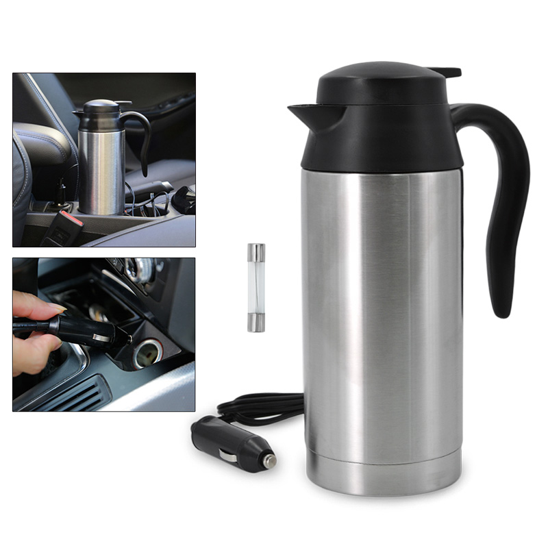 12V 750ML Stainless Steel Car Auto Adapter Heated Travel Mug Thermos Heating Cup Kettle Car Coffee Cup stainless steel thermos with handle insulate bpa free thermal coffee mug for hot and cold drinks kids vacuum mug travel cup