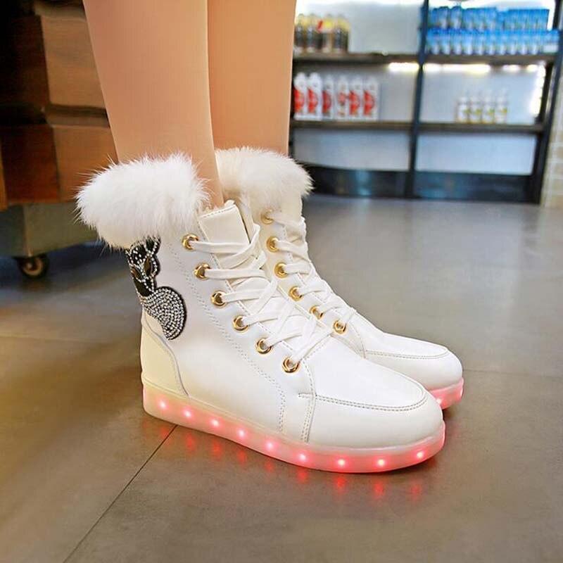 1558f18ca Botas Calidad Cuero Felpa Led De white Alta Zapatos Usb Las Mujeres Niños Piel  Black Chart Mujer Nieve Cm Carga size Niñas Para ...