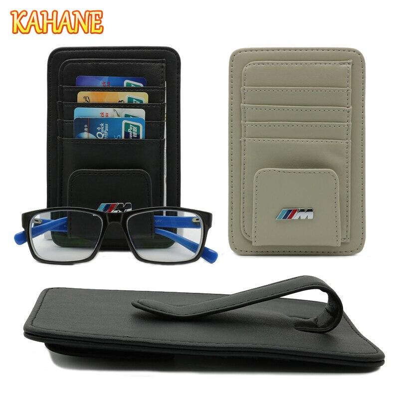 KAHANE Leather Car Sun Visor Sunglasses Eyeglasses Glasses Holder Clip Credit Card Bag FOR BMW E30 E39 F20 E60 E46 F30 X5 E90 M