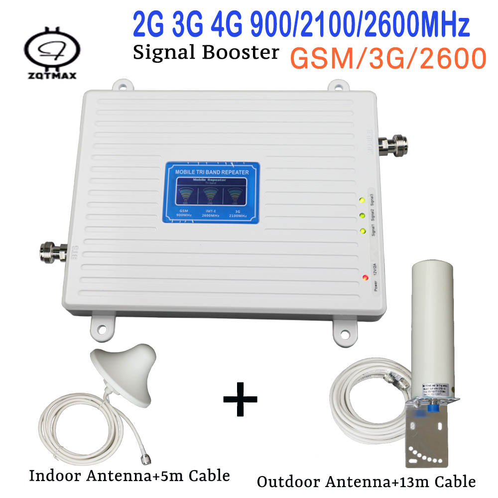 2G 3G 4G Cellular Signal Booster GSM 900 WCDMA 2100mhz 2600 Repeater 70dB Gain Amplifier Antenna Set With Indoor Outdoor Antenna