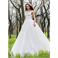 New Arrival Ball Gown Vintage Wedding Dress Double V- Neck Lace Applique Floor Length Empire Romantic Bridal Gown With Petticoat
