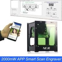 NEJE 2000 mW 405nm лазерная гравировальная машина AI Smart DIY USB мини ЧПУ деревянный маршрутизатор Портативный аккумулятор гравер