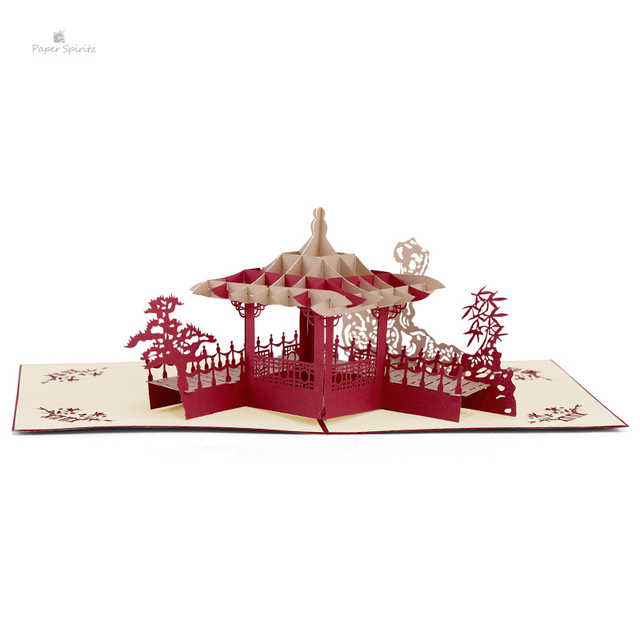 Vintage Postcards Happy Birthday Wishes Gifts Personalized Handmade Chinese Pavilion 3D Paper Laser Cut POP Up Greeting Cards