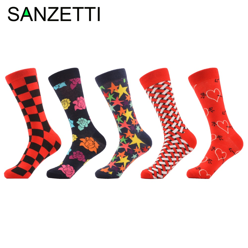 SANZETTI 5 pairs/lot Novelty Mens Colorful Combed Cotton Grid Rose Five-pointed Star Casual Crew Dress Socks size us 7.5-12