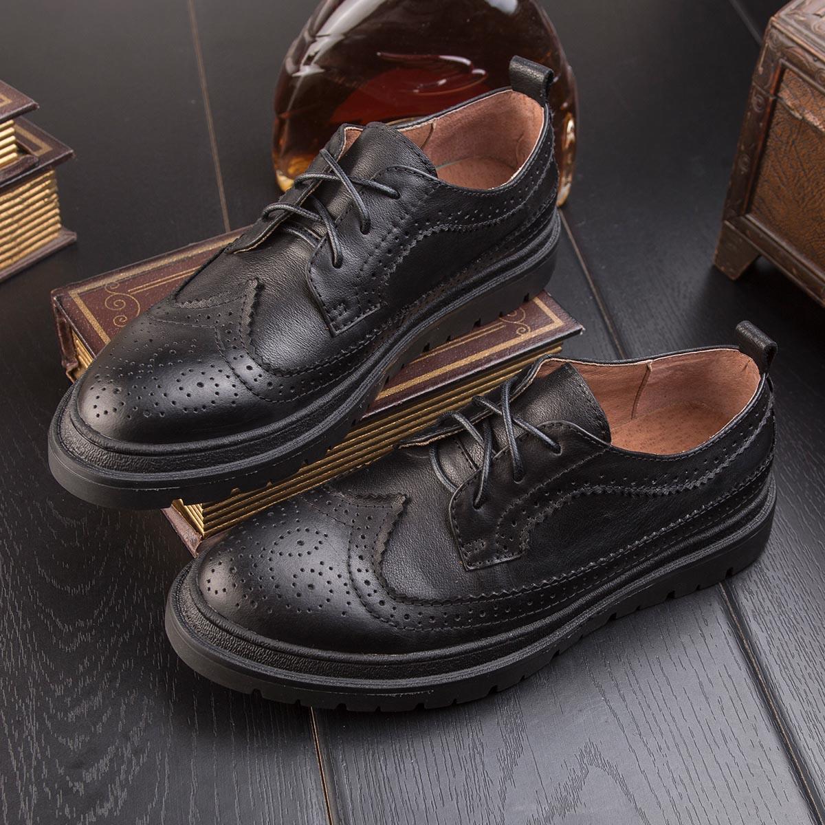 Otoño Cuero Inglaterra Tallado Gruesa Hombres De Negro Zapatos Brock Derby Retro Casuales marrón Los Nueva zXxdqz