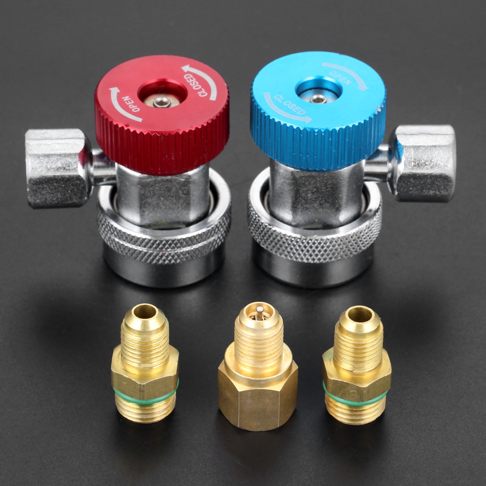 1Pair High Low Auto Adapter Connector Quick Coupler Car Air Condition Adjustable R134A