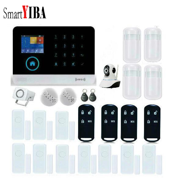 SmartYIBA WiFi GPRS GSM Wireless Alarm System+Wireless Smoke Detector+Remote Control+Door Sensor+WIFI IP Camera Alarm Sensor Kit