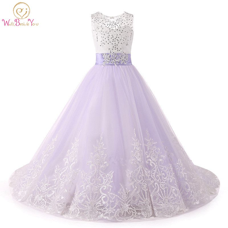 Walk Beside You Ball Gown   Flower     Girl     Dresses   Lilac Lace Applique Crystal Sweep Train Keyhole Back White Primera Communion Gown