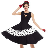 Vintage 1950s Black Dresses Hollow Out Women Party Dress Knee Length Patchwork O Neck Dresses Elegant
