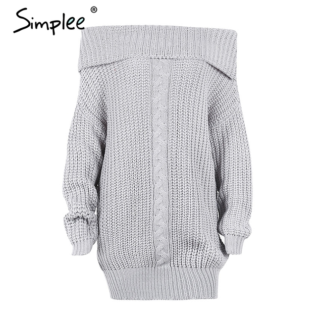 651500d5e411d5 Simplee One shoulder sexy winter dress women Knitted loose oversized ...
