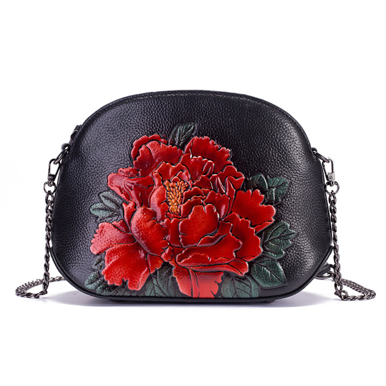 2019 Luxury Genuine Leather Women Bags Crossbody Flower Handbag Small Embossed Tote Purse Chinese Style Messenger Shoulder Bag