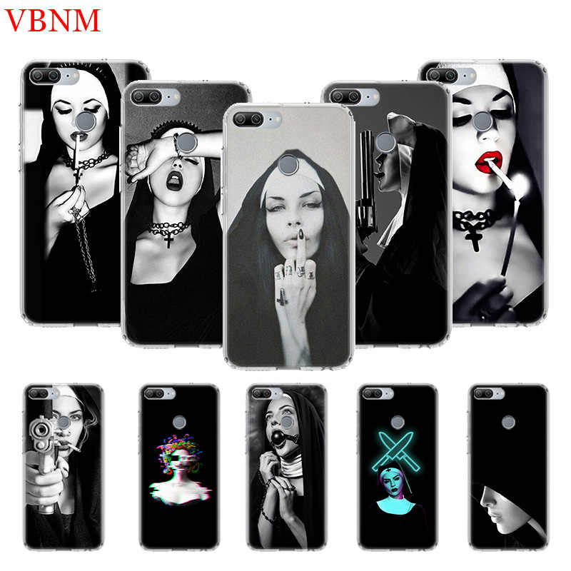 Sister Nun Black Printing Protect Phone Case for Huawei Honor 8X 8S 7A 7S 9 10 Lite 8A 20i 8S V20 Y5 Y6 Y7 Y9 2019 Cover Coque