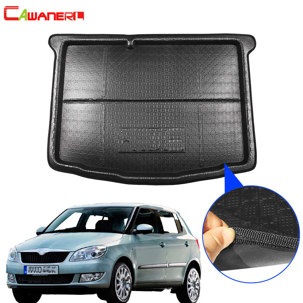 Cawanerl Car Boot Tray Liner Trunk Mat Floor Luggage Mud Pad Cargo Carpet For Skoda Fabia (NJ) Hatchback 2015 2016 2017 2018