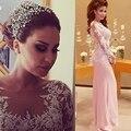 Mangas compridas Sereia Vestido de Noite 2016 Elegante Branco Apliques de Renda Chiffon Longo Arábia Árabe Vestido de Noite Das Mulheres