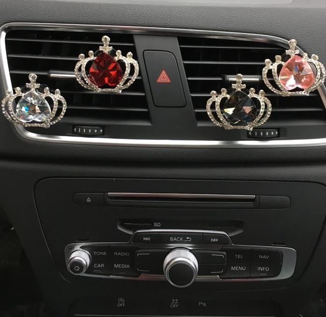 perzik kristal kroon auto parfum outlet clip interieur styling luchtverfrisser airconditioner outlet parfum auto
