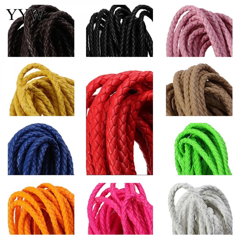 Сочетание цветов Плетеный кожаный шнур PU кожа больше цветов для выбора 6 мм 5 м/уп. Продавец мешок для ювелирных изделий делая