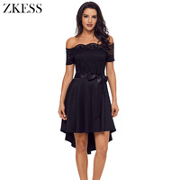 ZKESS Women Sweet Off Shoulder Dress Embroidered Lace Bodice Patchwork Dip Hem With Bow A Line