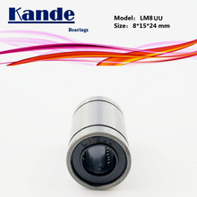 Kande Bearings LM8UU   10pcs LM8UU Linear Bearing 8x15x24mm LM8 UU Linear Bearing LM8