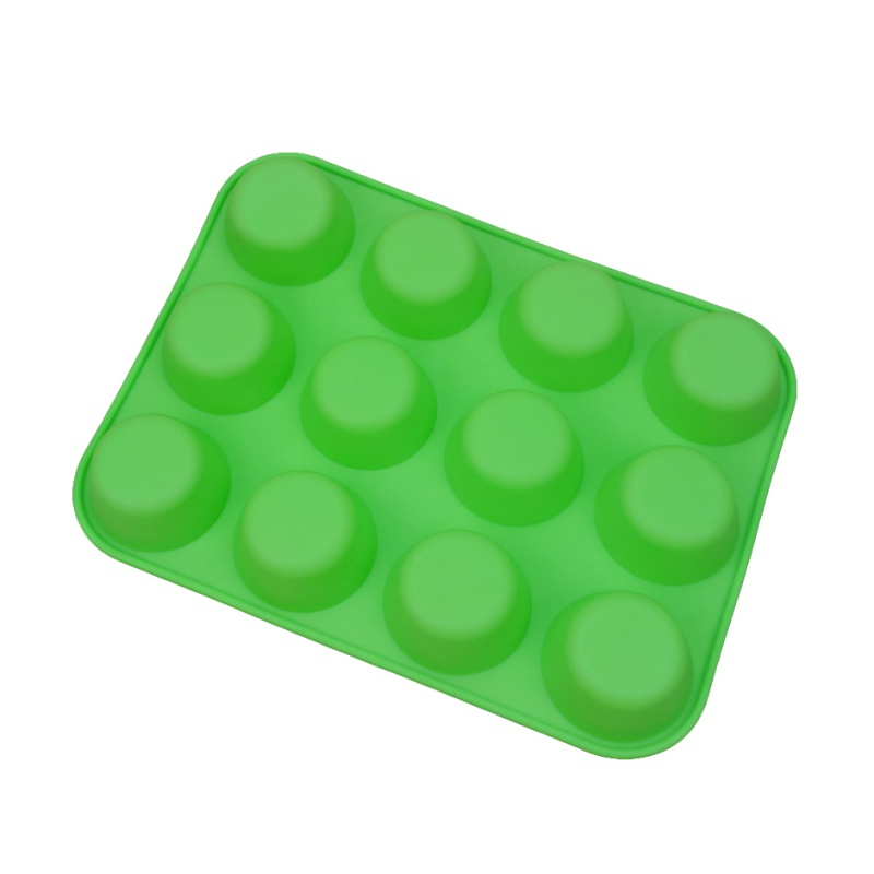 Cake Tools Mould Maker Silicone Jelly Non-Stick 12 Cups Cupcake Baking Tray Cake Mold Muffin Pan Kitchen Dining Bar Cookware