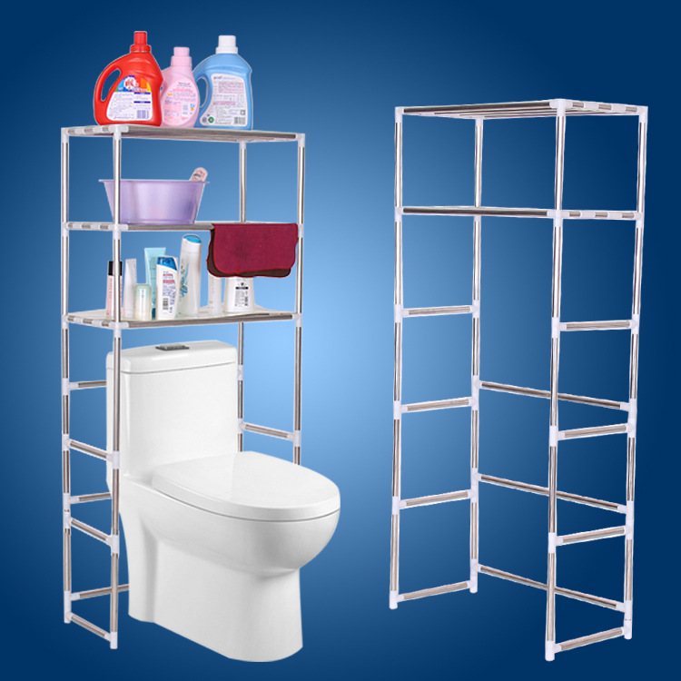 2PCS/lot Stainless Steel Bathroom Floor Organizer Toilet Rack Space Saver  Extendable Bath Storage Shelf Washing Machine Rack In Storage Holders U0026  Racks From ...